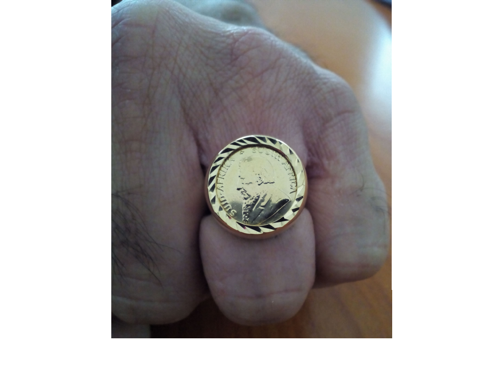 Gents Jewellery 9ct Pure Yellow Gold Gents Coin Ring With